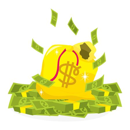 bringing home the bacon: A cartoon vector illustration of a bag of money. Illustration