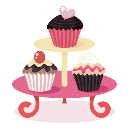 indulgência: A vector illustration of cute cupcakes on a cupcake stand.