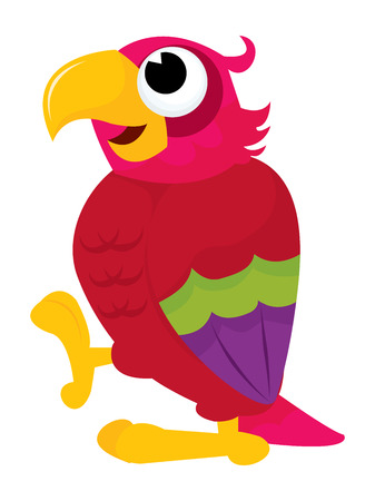 multi coloured: A cartoon vector illustration of a parrot standing. Illustration