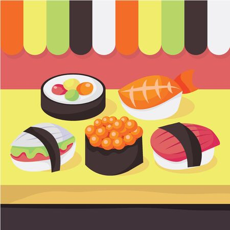 A vector illustration of a sushi shops window display.