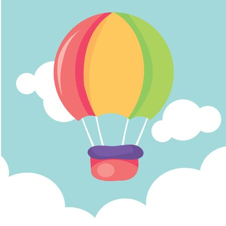 ballooning: A cartoon vector illustration of a cute hot air balloon up in the sky.