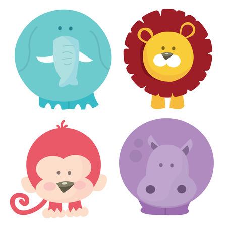A cartoon vector illustration set of four cute safari animals like elephant, lion, monkey and hippo. Illustration