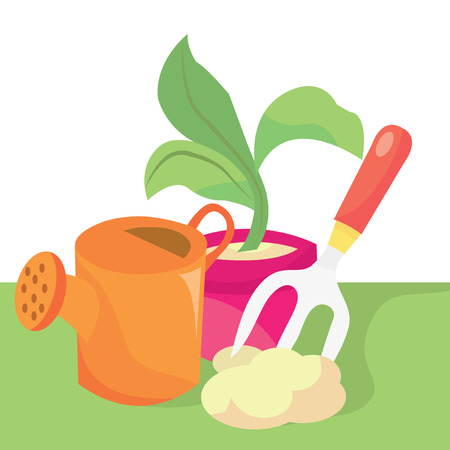 watering pot: A cartoon vector illustration of garderning related items like watering pot, plants and more Vettoriali