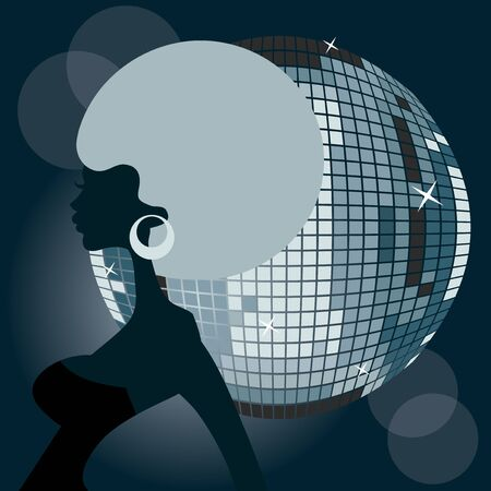 afro girl: A stylized vector illustration of a disco afro girl.