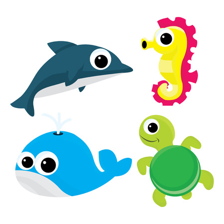 horse like: A cartoon vector illustration set of four cute cartoon sea life like dolphin, sea horse, whale and turtle.