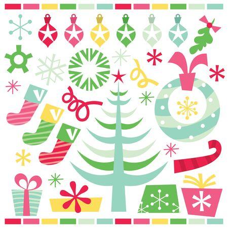 A vector illustration of retro pop whimsical christmas clip arts. Vector