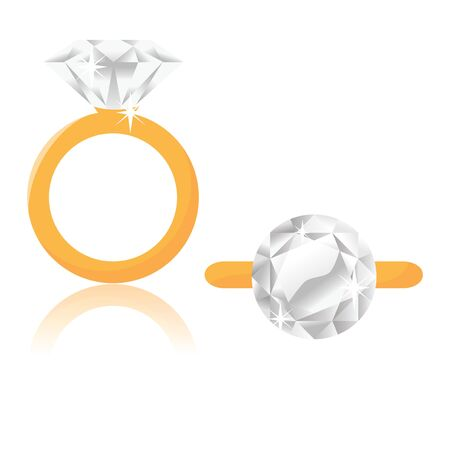 A vector illustration of a diamond solitaire engagement ring in side view and top view. Illustration