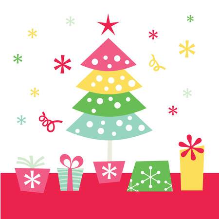 A whimsical retro pop vector illustration of a christmas tree and gifts. Vector
