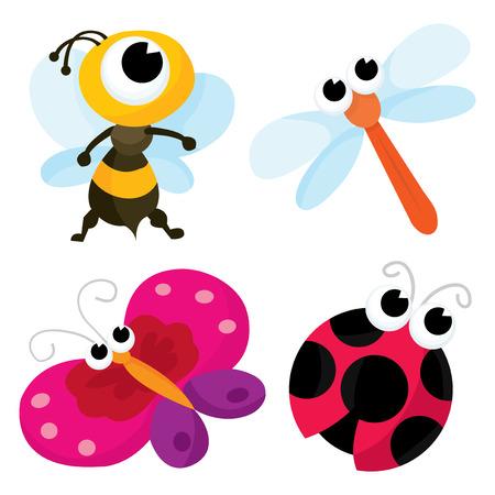 catarina caricatura: Una ilustración vectorial de dibujos animados conjunto de pequeños insectos lindos a saber una abeja, una libélula, una mariposa y una mariquita Vectores