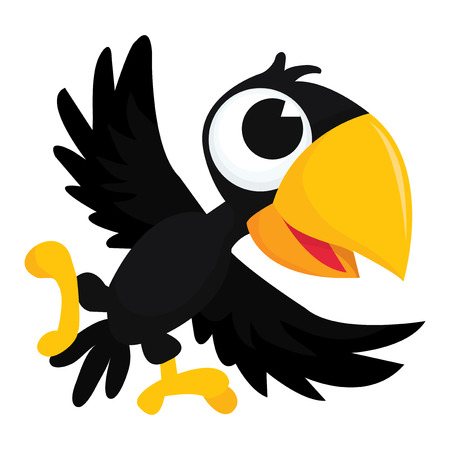 A cartoon vector illustration of a cute happy crow flapping its wings.
