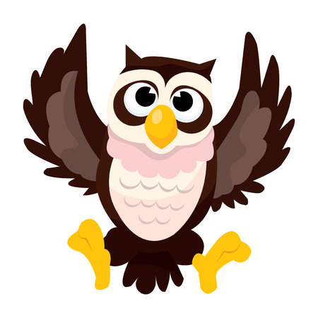 flapping: A cartoon vector illustration of a cute cartoon owl. Illustration