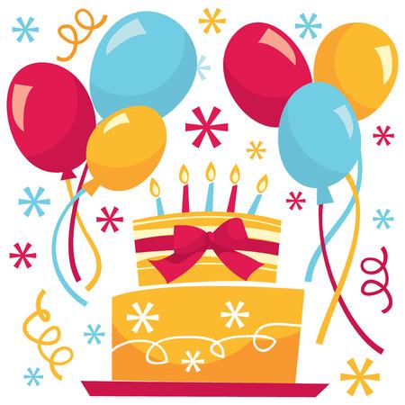 レトロな誕生日サプライズ パーティーのベクター イラストです。