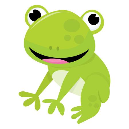 cute frog: A cartoon vector illustration of a cute friendly frog.
