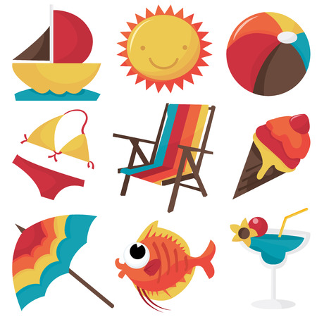 clip arts: A set of cute seaside clip arts cartoon vector illustration.