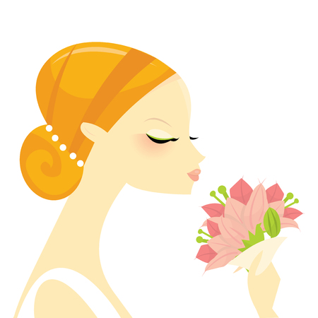 nuptials: A stylized fashion illustration of a cute bride holding a flower bonquet.