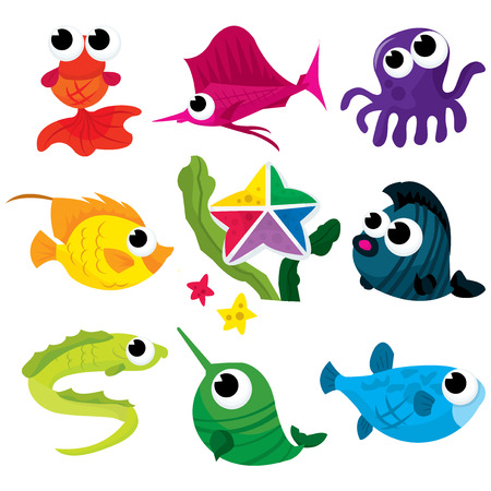 saltwater eel: A vector illustration collection of colorful cute underwater creatures.