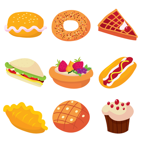 puff pastry: A cartoon vector illustration set of cute cafe food.