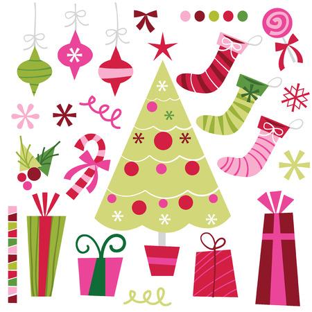 A vector illustration set of retro christmas design elements.