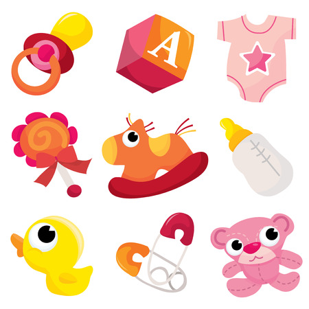 A vector illustration of cute baby girl icons like nappy pins, pacifier and baby toys. Ilustrace