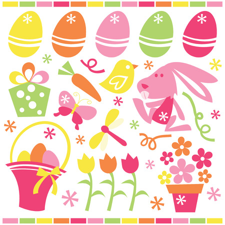 cartoon easter basket: A set of cute retro easter and spring related stock vector illustration clip arts. Illustration