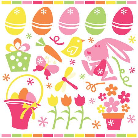 osterhase: Eine Reihe von cute retro Ostern und Fr�hling bezogenen Vektorgrafik-Cliparts. Illustration