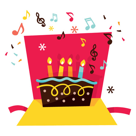 multi coloured: A vector stock illustration of a cute whimsical and vibrant musical pop up birthday card.
