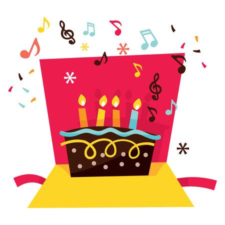 pop up: Een vector voorraad illustratie van een leuke capricieuze en levendige muzikale pop up verjaardagskaart. Stock Illustratie