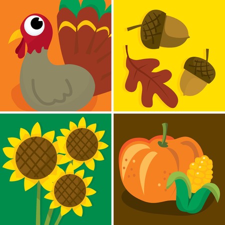corn flower: A vector illustration set of four different thanksgiving related images.
