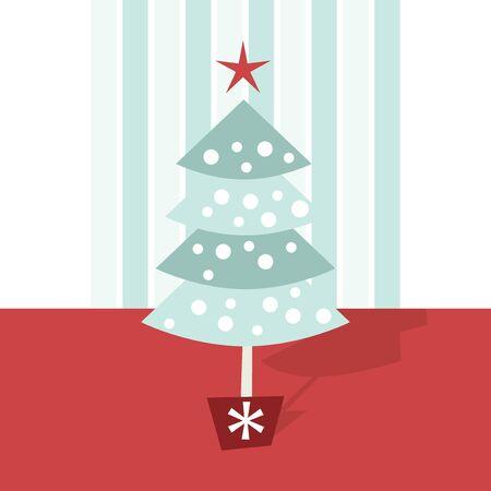 public celebratory event: Simple and minimalistic christmas tree set vector illustration.