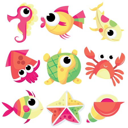 sea creatures: A cartoon vector illustration set of cute sea tropical sea creatures.