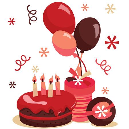 レトロな誕生日サプライズ パーティーのベクター イラストです。図には、誕生日ケーキ、バルーンおよびギフトが含まれます。