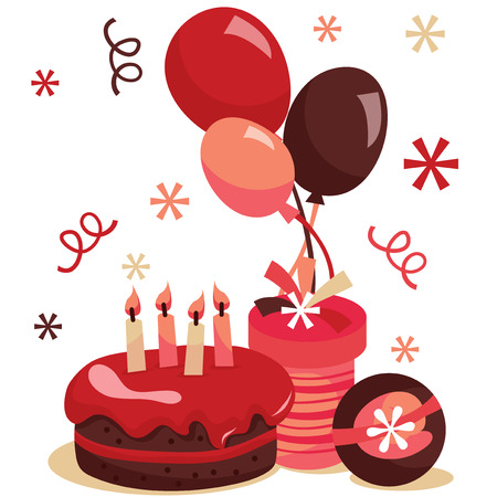 A vector illustration of retro birthday surprise party. Illustration includes a birthday cake, balloons and gifts. Stock Illustratie