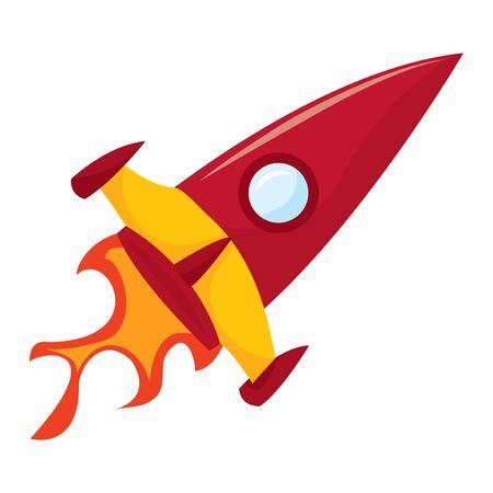 liftoff: A cartoon vector illustration of a rocket blasting off. Illustration