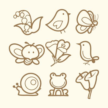 streckbilder: A vector illustration of nine different spring related icons styled in doodle line art.
