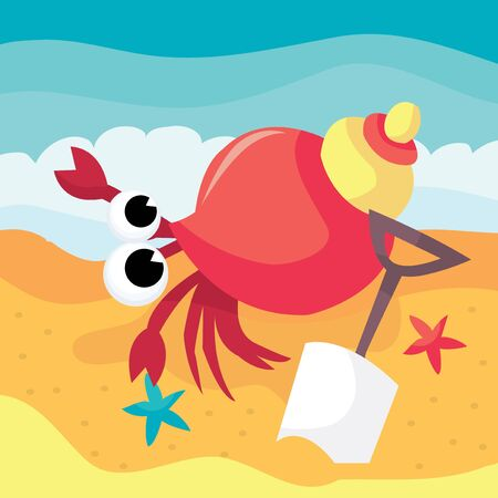 hermit: A cartoon vector illustration of a cute hermit crab by the beach.