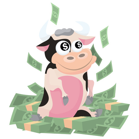 moneymaker: A cartoon vector illustration of the saying cash cow. A cute cow sitting on top of pile of money.