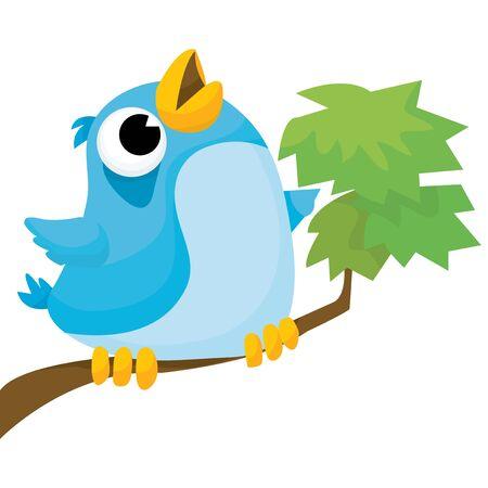rúdon ülés: A rajzfilm vektoros illusztráció egy kis kék madár perching egy fa tweeting.
