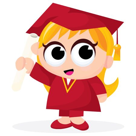 cute blonde: A cartoon vector illustration of a cute blonde female graduate. Illustration