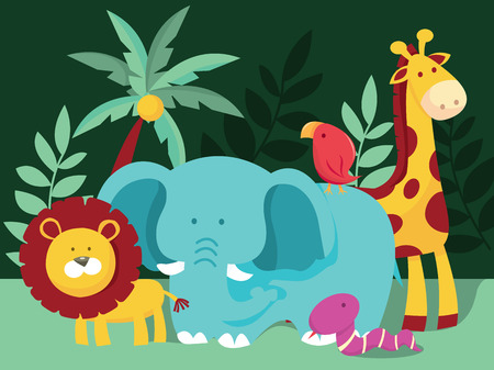 A cartoon vector illustration of typical jungle with wild animals like elephant, lion, giraffe, snake and bird. Stock Illustratie