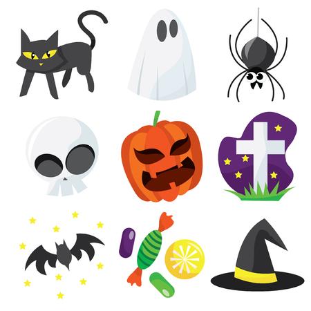 A cartoon vector illustration of cute halloween icons.