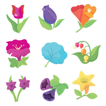 flora  vector: A vector stock illustration set of gorgeous and cute flowers mix.