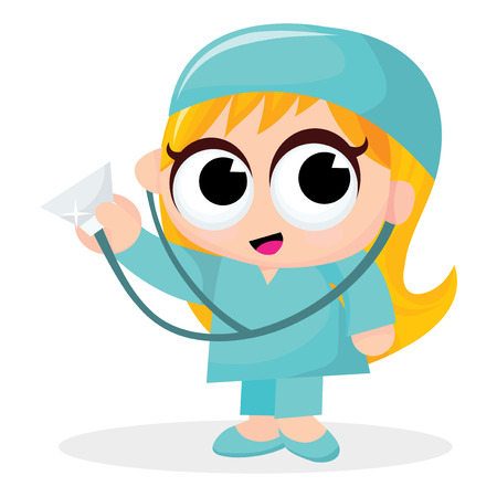 cute blonde: A cartoon vector illustration of a cute blonde female doctor.