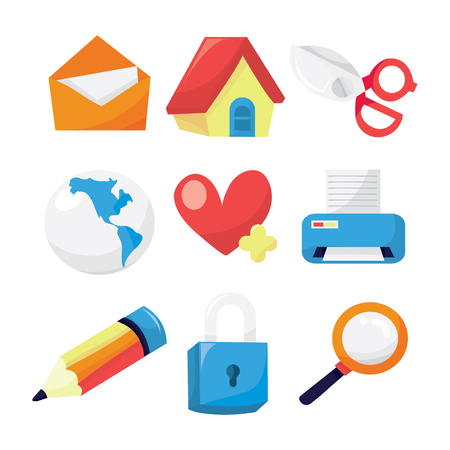 printing house: A vector illustration set of nine different internetweb related icons. Illustration