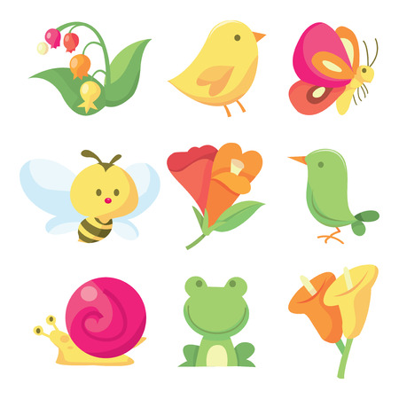 A vector illustration icon set of nine cute spring related images like insects to flowers. Vector