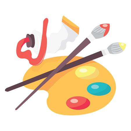 art palette: A vector illustration of paint, pallet and paintbrush. Illustration