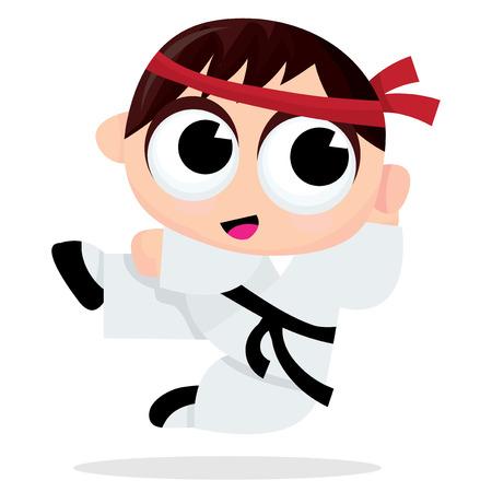 recreational pursuit: A cartoon vector illustration of a karate kid.