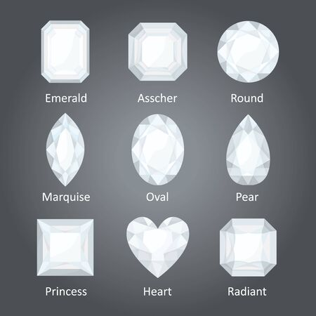 diamond shaped: Illustration of the different diamond shapes.