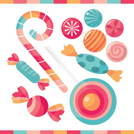 맛있는 사탕의 선택 벡터 일러스트 레이 션을 처리합니다.