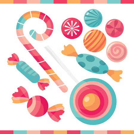 candy background: A selection of delicious candy treats vector illustration.