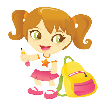 pony tail: A cartoon vector illustration of a happy school girl holding a pencil with backpack beside her.
